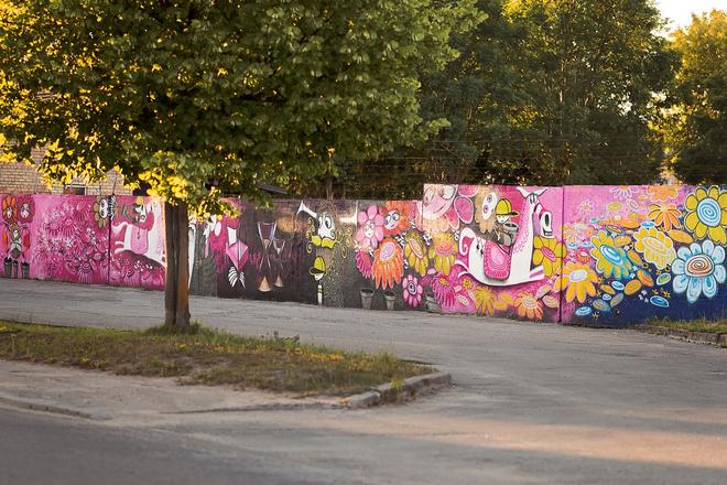 """Andriaus Seselsko grafiti piešinys """"Apie Saulės mergelę"""""""